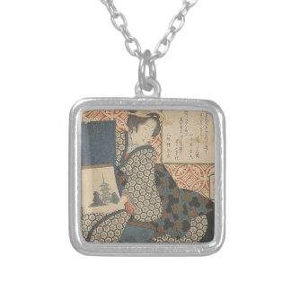 Japanese Woodprint Silver Plated Necklace