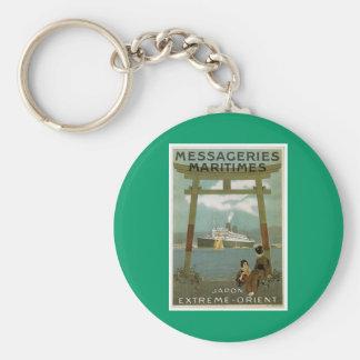 """Japon Extreme-Orient"" Messegeries Maritimes Basic Round Button Key Ring"