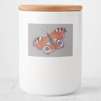 Jar Label with Peacock Butterfly Design 2