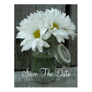 Jar of Daisies Wedding Save The Date Postcard