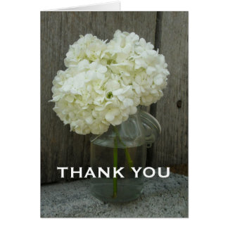 Jar of Hydrangeas & Barn Wood Thank You Card