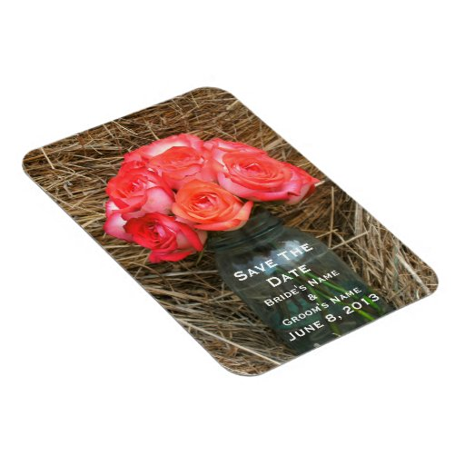 Jar Of Roses In Hay Wedding Save The Date Magnet