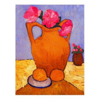 jar, peonies and Oranges by Modersohn Postcard