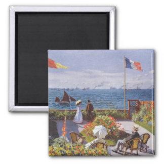 Jardin a Sainte-Adresse by Claude Monet Square Magnet