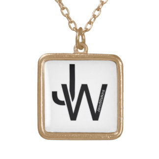 JaredWatkins gold plated square logo necklace Jewelry