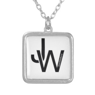 JaredWatkins silver plated square logo necklace Custom Jewelry