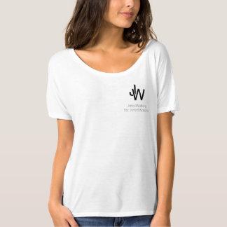 JaredWatkins women's basic white logo flowey top Tshirts