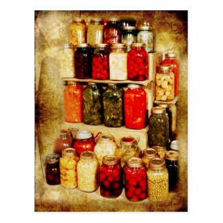 Jars of home-canned food postcard