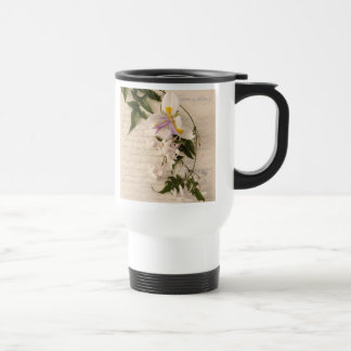 jasmine flowers and lily with script commuter mug
