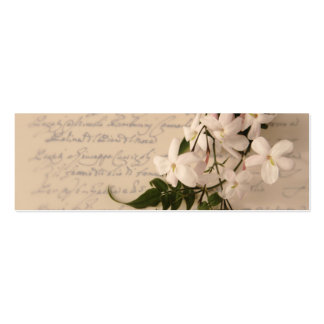 jasmine flowers on old script handwriting bookmark business card templates