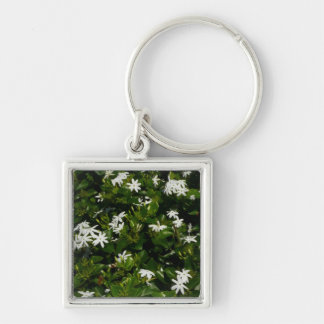 Jasmine Flowers Silver-Colored Square Key Ring