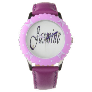 Jasmine, Name, Logo, Girls Bows Leather Watch. Watches