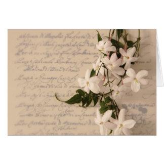 jasmine on old script handwriting notecard