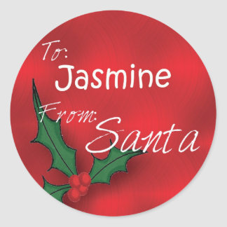 Jasmine Personalised Holly Gift Tags From Santa Round Sticker