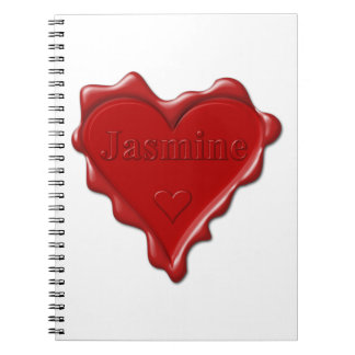 Jasmine. Red heart wax seal with name Jasmine Notebook