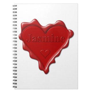 Jasmine. Red heart wax seal with name Jasmine Notebooks