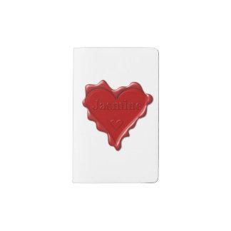 Jasmine. Red heart wax seal with name Jasmine Pocket Moleskine Notebook