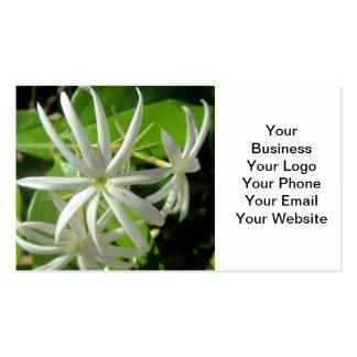 Jasmine White Green Flower Business Card Template