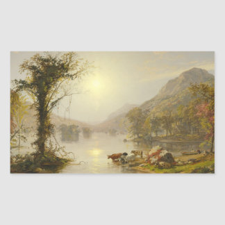 Jasper Francis Cropsey - Autumn on Greenwood Lake Rectangular Sticker