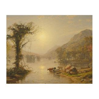 Jasper Francis Cropsey - Autumn on Greenwood Lake Wood Canvas