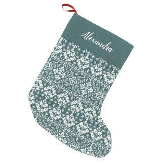 Jasper Green Nordic Sweater Pattern Personalized Small Christmas Stocking