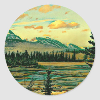 Jasper National Park River with mountain view Classic Round Sticker