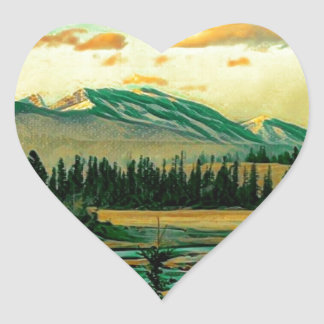 Jasper National Park River with mountain view Heart Sticker