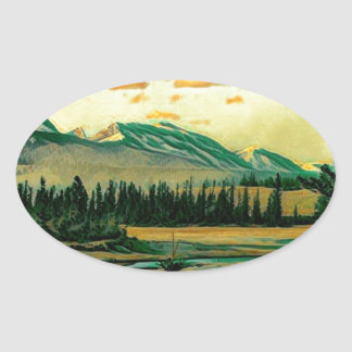 Jasper National Park River with mountain view Oval Sticker