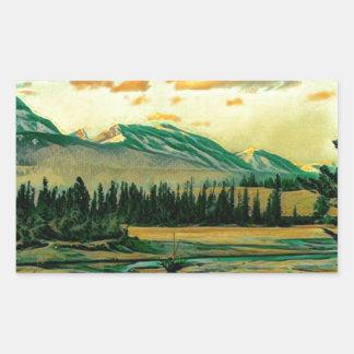 Jasper National Park River with mountain view Rectangular Sticker