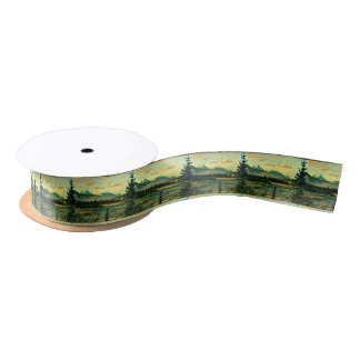 Jasper National Park River with mountain view Satin Ribbon