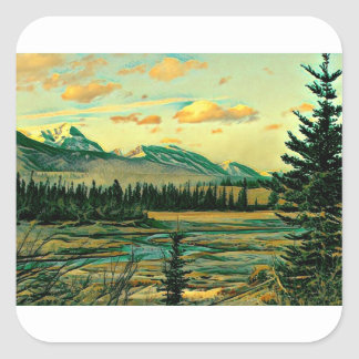 Jasper National Park River with mountain view Square Sticker