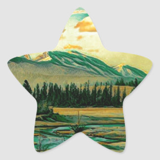 Jasper National Park River with mountain view Star Sticker