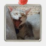 Jasper Yawning Kitten Photo Square Metal Ornament