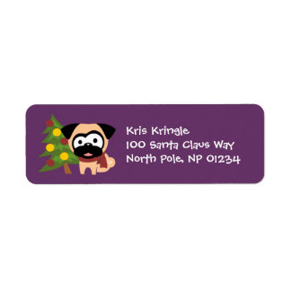 Jaunty Pug with Tree Holiday Return Address Labels