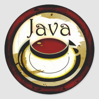 Java Coffee Cup Round Sticker