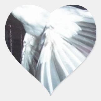 Java Finch in Flight Heart Sticker