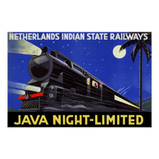 Java Indonesia Vintage Travel Poster Restored