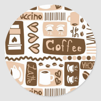 Java Java Java! Round Stickers