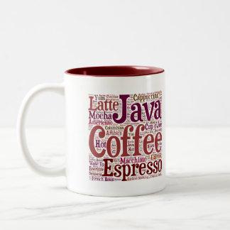 Java Jive Coffee Lover's Word Art Mug in Maroon
