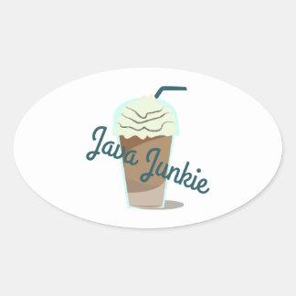 Java Junkie Oval Sticker