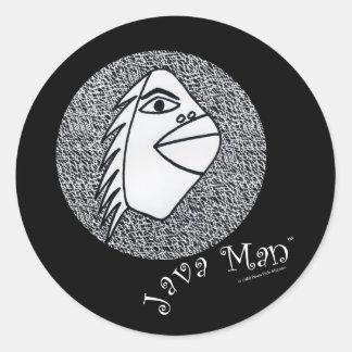 Java Man Round Sticker