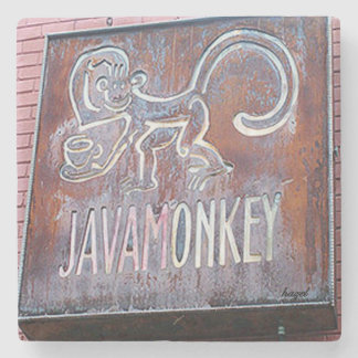Java Monkey, Decatur, Atlanta. Marble Coaster. Stone Coaster