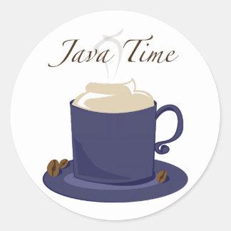 Java Time Round Stickers