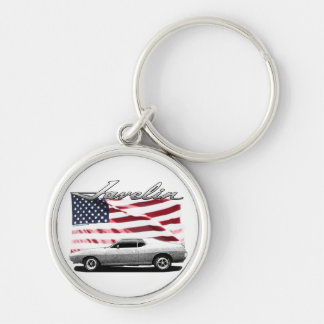 Javelin AMX muscle car Silver-Colored Round Key Ring