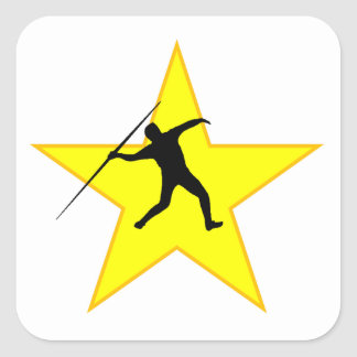 Javelin Throw Silhouette Star Square Sticker