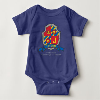 Jayden J letter name meaning crest knights shield Baby Bodysuit