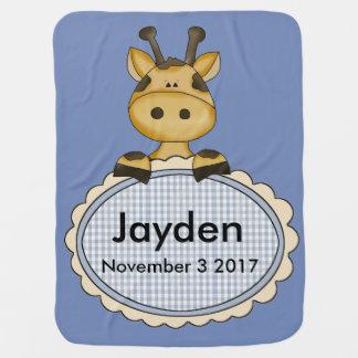 Jayden's Personalized Giraffe Buggy Blankets