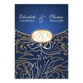 Jazmene Golden Filigree Wedding Invitation-indigo Card