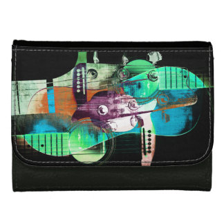 Jazz acoustic guitar abstract collage wallet for women