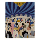 Jazz Age Art Deco Dancing couples dance hall art Poster